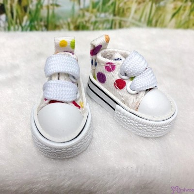 1/6 Bjd Neo B Denim Doll Shoes Color Dots Sneaker WHITE SHP008WHE