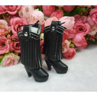 1/6 Doll Shoes PU Leather Tassel High Heel Boots Black SHP191BLK