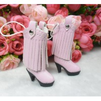 1/6 Doll Shoes PU Leather Tessel High Heel Boots PINK SHP191PNK
