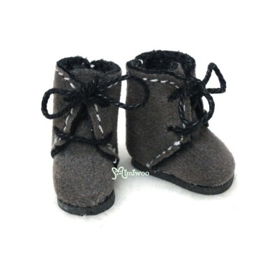 Middie B 2.2cm Doll Shoes Flocked Boots Grey SBB008GRY