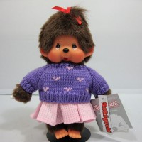 Monchhichi S Size 2010 Dressed Blue Knit Sweater Girl 239730