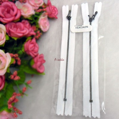 12cm White Close End Zipper Copper Metal Handle 2pcs NDA134CPR