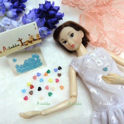 NDB003BLE Doll Dress DIY Crafts Tool Tiny Button Heart 4mm Blue