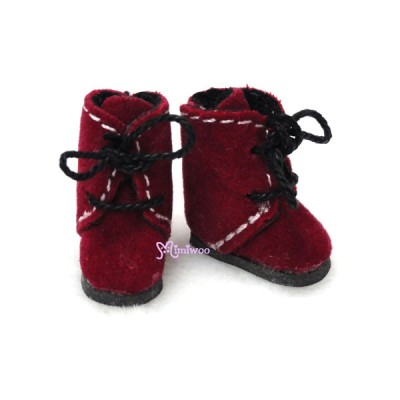 Middie B 2.2cm Doll Shoes Flocked Boots RED SBB008RED