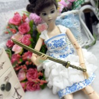 1/6 Bjd Knife Weapon Miniature Mini Metal Sword Gold TPS042GLD