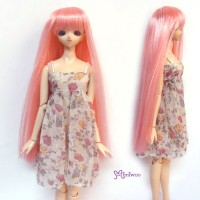 "1/6 Bjd Long Straight Bang Heat Resistant 3.5"" - 4"" Wig Pink WM27-02-PK"