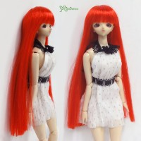 "1/6 Bjd Long Straight Bang Heat Resistant 3.5"" - 4"" Wig Red WM27-02-RD"